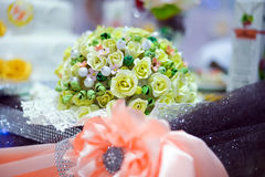 Decoration wedding feast. With pink ribbons Royalty Free Stock Images
