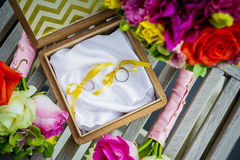 Decoration for the wedding rings Stock Photos