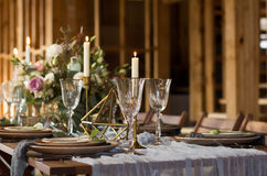 Decoration wedding table before a banquet.  Wedding party. Stock Photography