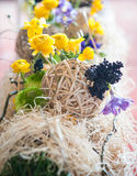 Yellow floral arrangements and decorations Stock Photography