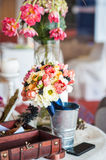 Floral arrangements and decorations for wedding. Decoration of wedding table.floral arrangements and decorations.arrange ment of hydrangeas and roses in vases Stock Image