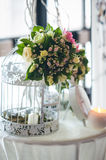 Floral arrangements and decorations for wedding. Decoration of wedding table.floral arrangements and decorations.arrange ment of hydrangeas and roses in vases Royalty Free Stock Photography