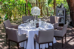 Decoration of a wedding table in the garden. stock photography
