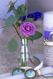 Decoration for wedding table in purple color . Flowers and candl Stock Image