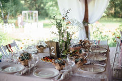 Decoration wedding tables  in outdoor. Natural wood Royalty Free Stock Photography