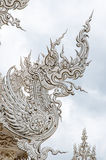 Decoration with white dragon on roof. Royalty Free Stock Image