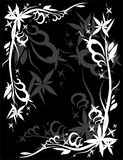 Decoration white graphic flower. On black frame Royalty Free Stock Photo