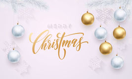 Decoration white snowflakes pattern golden ball ornament Merry Christmas greeting Stock Photography