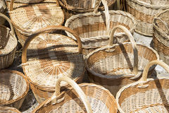 Decoration, wicker baskets handmade in a traditional medieval sh Royalty Free Stock Photos