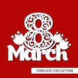 Decoration for women`s day - 8 March. Template for laser cutting, wood carving, paper cut and printing. Vector illustration Royalty Free Stock Images