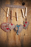 Decoration on Wooden background with fabric Hearts and words Val Stock Photos