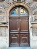 decoration wooden doors of the  building stock images