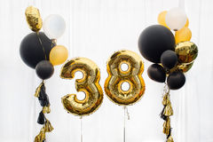 Decoration for 38 years birthday, anniversary. Decoration for birthday, anniversary, celebration of the thirtieth eight anniversary, white background, gold and Royalty Free Stock Photos