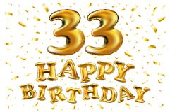 Decoration for 33 years birthday, anniversary. Vector happy birthday 33d celebration gold balloons and golden confetti glitters. 3d Illustration design for your Royalty Free Stock Images
