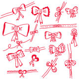 Decorational holidays bows set. In red colors Royalty Free Stock Photos