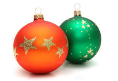 Decorations. Colorful decoration balls isolated on white Royalty Free Stock Photography