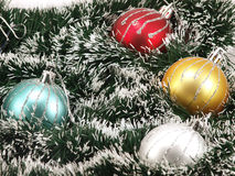 Decorations. New Year's Christmas-tree decorations isolated on a white background Stock Images