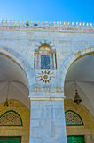 Decorations on Al-Aqsa's facade. The arcade of Al-Aqsa Mosque decorated with the carved stone elements, patterns and inscriptions from Quran, Jerusalem, Israel Stock Images
