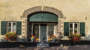 Decorations in autumn atmosphere at the entrance of the house create a welcoming atmosphere stock image