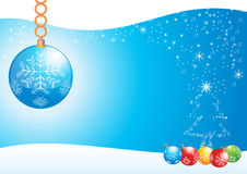 Decorations balloons. Blue sky illustration face, stars, pine tree and decorations balloons Stock Photos