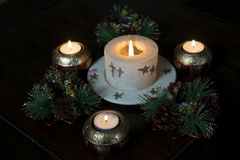 Decorations and Christmas candles Royalty Free Stock Image