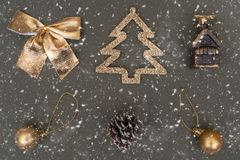 Golden Christmas tree decorations. Ball, bump, fir, bow royalty free stock photography