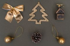 Golden Christmas tree decorations. Ball, bump, fir, bow royalty free stock images