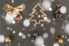 Golden Christmas tree decorations. Ball, bump, fir, bow stock images