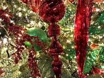 Decorations, Christmas Holiday, Red and White Ornaments. The photo was taken at the North Pole in Oklahoma City royalty free stock photo