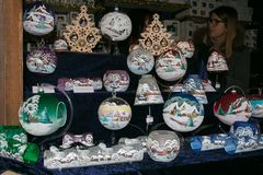 Decorations at the christmas market or Marché Vert Noël of Aosta city. Italy royalty free stock photography