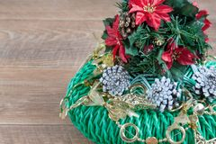 Decorations for Christmas and New Year are lying in the advent crown. Stock Images