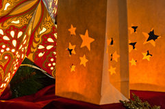 Decorations for Christmas : stars , lights , candles and balls Royalty Free Stock Images