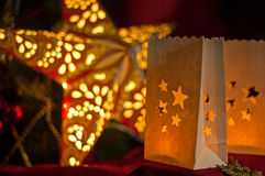 Decorations for Christmas : stars , lights , candles and balls. Christmas decorations , balls , stars , lights and local handicrafts prepared for the Christmas Stock Photos