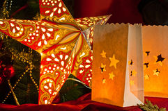 Decorations for Christmas : stars , lights , candles and balls Stock Images