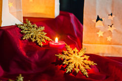 Decorations for Christmas : stars , lights , candles and balls. Christmas decorations , balls , stars , lights and local handicrafts prepared for the Christmas Royalty Free Stock Images