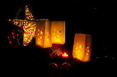Decorations for Christmas : stars , lights , candles and balls. Christmas decorations , balls , stars , lights and local handicrafts prepared for the Christmas Royalty Free Stock Photos