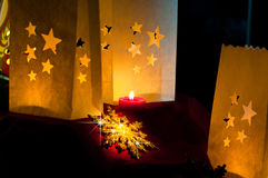 Decorations for Christmas : stars , lights , candles and balls. Christmas decorations , balls , stars , lights and local handicrafts prepared for the Christmas Stock Images