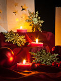 Decorations for Christmas : stars , lights , candles and balls. Christmas decorations , balls , stars , lights and local handicrafts prepared for the Christmas Royalty Free Stock Photo