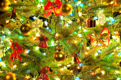 Decorations on Christmas tree Royalty Free Stock Photography
