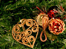Decorations on Christmas tree. Christmas decorations on green pine tree Stock Photography