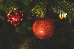 Decorations on Christmas tree Stock Photo
