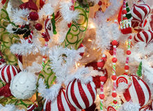 Decorations on christmas tree Royalty Free Stock Photo