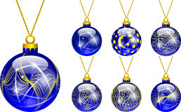 Decorations for Christmas tree blue Royalty Free Stock Image