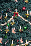 Decorations on a Christmas Tree. A closeup of a Christmas tree showing some decorations Royalty Free Stock Photography