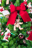Decorations on a Christmas Tree. A closeup of a Christmas tree showing some decorations royalty free stock image