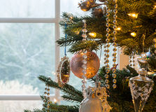 Decorations on christmas tree detail Stock Photo