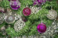Decorations on the Christmas tree royalty free stock images