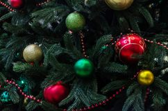 Decorations on Christmas trees stock images