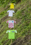 Decorations of Distinctive Jerseys of Le Tour de France 2014 Royalty Free Stock Images
