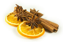 Decorations with dried fruit. Orange star anise and cinnamon as decorations Stock Image